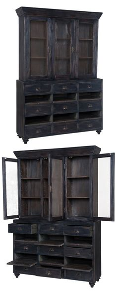 Inspired by traditional European farmhouse fixtures, this stunning cabinet boasts beautifully distressed, black-finished framing and antiqued wire door paneling. Equipped with three door-covered shelf ...  Find the Johnson Cabinet, as seen in the Modern British Flat Collection at http://dotandbo.com/collections/modern-british-flat?utm_source=pinterest&utm_medium=organic&db_sku=116194