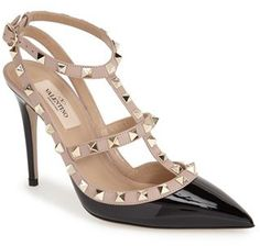 Valentino 'Rockstud' T-Strap Pump (Women) #valentino #black #nude #tstrap #studs #studded #pumps #heels #shoes #fashion #trend