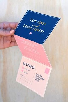 I like the folding idea! With the last part a tear off post card response card! modern wedding invitation brides of adelaide magazine