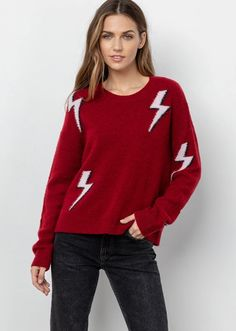 Rails Aries Sweater - deniseboutiques Red Sweaters, Pullover Sweaters, Red Lightning, Leopard Sweater, Cashmere Wool, Wool Blend, Crew Neck, Graphic Sweatshirt, Black And White