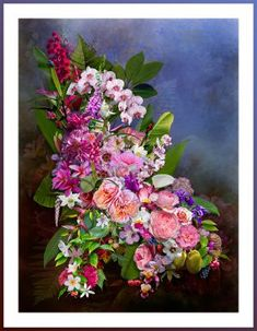 FlowerCloud Purple by mikpic Creative Art, Floral Wreath, Digital Art, Wreaths, Purple, Artwork, Flowers, Decor, Creative Artwork