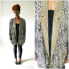 vintage 80s silk glam SEQUIN TUXEDO by PasseNouveauVintage on Etsy, $54.00