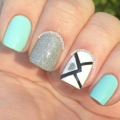 Cute love letter valentines day nails