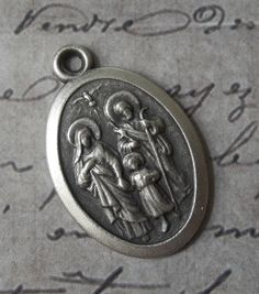 Vintage Religious Medal Holy Family Saint Joseph, The Blessed Virgin Mary, Child Jesus & The Holy Spirit , Pray For Us, Made In Italy