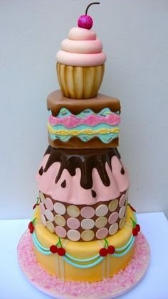 Great tiered cake for an ice cream social or summer garden party.
