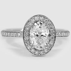 18K White Gold Adore Diamond Ring // Set with a 1.05 Carat, Oval, Super Ideal Cut, D Color, VVS1 Clarity Diamond