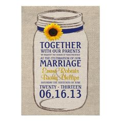 Perfect for a rustic, vintage, or country themed wedding. Features a burlap background with rustic mason jar and sunflower accent to coordinate with your wedding theme. This invitation features a navy and yellow color scheme.  I would be happy to customize the colors to match your wedding theme, so just send me an email!
