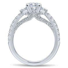 1.66 ctw Princess Diamond Three Stone Engagement Ring, GIA Certified, 1.00 Carat Princess Cut Diamond, Vintage Style, Verragio Inspired, Raven Fine Jewelers