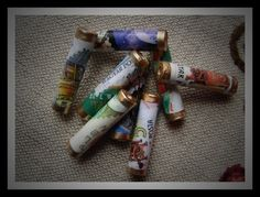 Paper Beads with various stamp designs on by TheHappyBeadsCabinet, €3.67