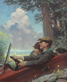Norman Rockwell.  This reminds me of driving on PA hills.