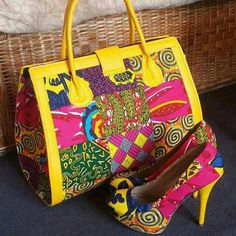 African Print Shoes and Purse. African Fabric Classics, African shoes, Ankara Shoes, Flat Shoes, African Design Clutch.