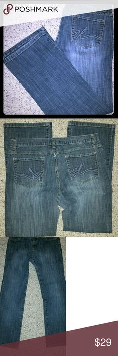 """Daisy Fuentes Boot Cut Jeans Daisy Fuentes Dark Wash Boot Cut EUC Jeans. 16.5 flat waist, 30"""" inseam, 9"""" front rise nice fit designer jeans. Great wit boots, wedges or tennies Daisy Fuentes Jeans Boot Cut"""