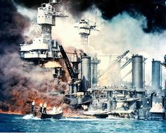 The Empire of Japan launched a surprise attack on the US naval base in Hawaii on December 7, 1941, killing 2,350 people. Here, the USS West Virginia goes up in flames after the surprise Japanese attack on Pearl Harbor.