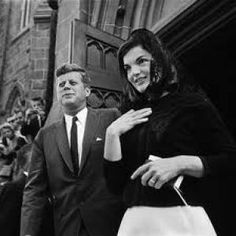 ♥~ JFK with Jackie Kennedy; wearing black lace headscarf.jpg ~♥