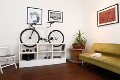 Chol bike storage furniture is must have for small apartments Bike Storage Small Space, Indoor Bike Storage, Bicycle Storage, Small Storage, Storage Shelves, Bike Storage Furniture, Furniture Design, Multifunctional Furniture, Furniture Ideas