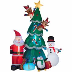 New for Christmas 2017...Animated Christmas Tree Yard Inflatable.  Looking for a fun and good times Christmas Inflatable...then this 9.5 foot tall cute inflatable is for you.  This Christmas Inflatable features Santa, and his friends Snowman, Penguin, and two Reindeer popping in and out of the Christmas Tree. And this tree has kaleidoscope lighting on the tree.