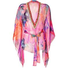 MATTHEW WILLIAMSON ESCAPE Magenta-Multi Belted Short Silk Kaftan ($910) ❤ liked on Polyvore