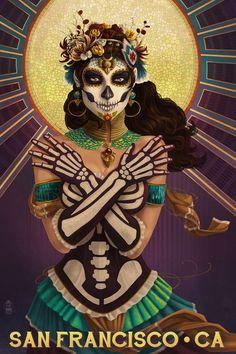 San Diego, California - Day of the Dead Crossbones (Art Prints, Wood & Metal Signs, Canvas, Tote Bag Wall Art Prints, Poster Prints, Canvas Prints, Aztecas Art, Witch Room, Sugar Skull Art, Sugar Skulls, Day Of The Dead Art, Free Canvas