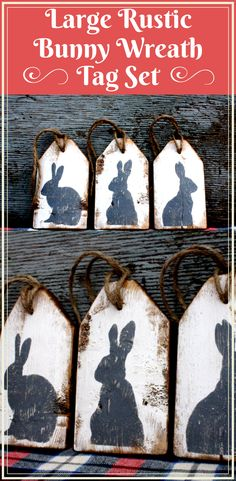 Distressed Wood Rabbit Tag SET . Super Rustic & Antiqued!! These Tags are an Original Design by The Unpolished Barn LLC. #Easterdecor #Easterwreathtag #springdecor #springwreathtag #woodbunnysign #woodbunnytags #rusticwoodtags #rusticwoodsigns #weddingtablenumbers #weddingdecor #rustictablenumbers #affiliate
