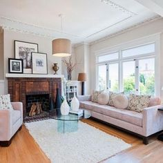 Fine Paints of Europe's AR19 is a creamy off-white that softens the lines in this living room while picking up the qualities of hues in adjoining spaces. | Photo: Courtesy of Fine Paints of Europe | thisoldhouse.com