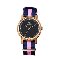 LinTimes Women Classic Sandal Wood Watch Nylon Band Wooden Watch Multi-Color Stripe Band Zebrawood - Brought to you by Avarsha.com