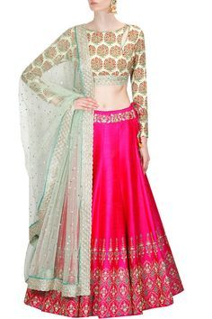 Mint green persian floral print blouse and hot pink lehenga set available only at Pernia's Pop Up Shop