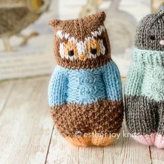 Knitted Doll Patterns, Animal Knitting Patterns, Crochet Patterns, Amigurumi Patterns, Loom Knitting, Free Knitting, Baby Knitting, Knitted Owl, Knitted Animals