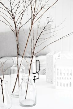 winter + coziness + branches + glass + white + grey | living room decor