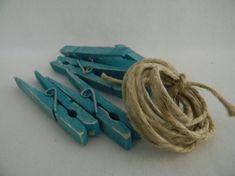 altered clothes pins | Altered set of clothespins in turquoise shabby chic inspired