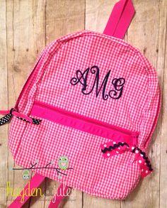 Monogrammed Hot Pink and Navy Seersucker or Gingham Backpack