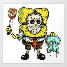 Spongebob Horror Canvas Print by pauloarte Horror Cartoon, Zombie Cartoon, Cartoon Art, Geek Mode, Art Sketches, Art Drawings, Spongebob Drawings, Arte Nerd, Horror Artwork