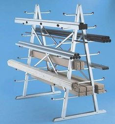 Build a lumber storage rack out of fencing scraps Lumber Storage Rack, Wood Storage, Diy Storage, Tool Rack, Power Tool Storage, Garage Tool Storage, Welded Furniture, Plumbing Pipe Furniture, Plumbing Pipe Shelves