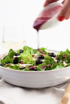 Blueberry Chicken Salad with Berry vinaigrette /