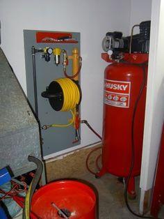 Show us your compressor plumbing and manifolds  The Garage Journal Board Garage Shed, Garage Tools, Garage Plans, Diy Garage, Garage Workbench, Workshop Organization, Garage Organization, Garage Storage, Organized Garage