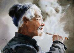 Art Of Watercolor: Guan Weixing Portraits Watercolor Portraits, Watercolour Painting, Watercolors, Master Of Fine Arts, Art Academy, Interesting Faces, Chinese Art, Asian Art, Drawings