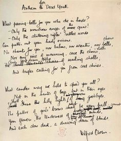 wilfred owen anthem for doomed youth essay