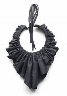 Ruffled Leather Bib Necklace made from vintage leather scraps; sustainable fashion