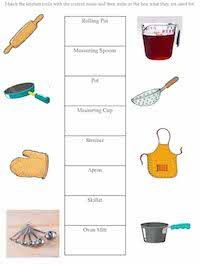 Kitchen Tools Worksheet Kids Cooking Printables