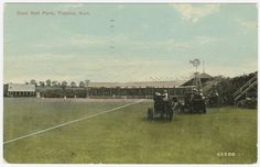 Topeka ballpark, circa 1910. Postcard features a game in progress at the ballpark located near the current intersection of 15th and Adams. The ballpark opened in 1904 as a venue for Topeka's minor league team. (Kansas Historical Society.)