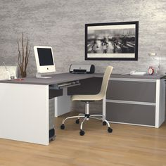 Karla L-Shape Desk Office Suite with Hutch
