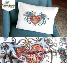 Spoonflower fabric and Urban Threads embroidery designs - meant to be together.