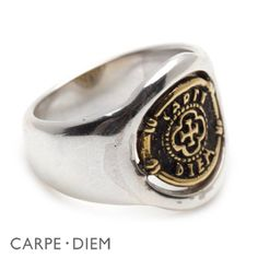 Carpe Diem Ring Sterling Silver and Brass Two Tone Mens Rings Engagement Jewelry by carpediemjewellery on Etsy https://www.etsy.com/listing/55627277/carpe-diem-ring-sterling-silver-and