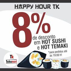 Happy Hour na Takanori! • 8% de desconto em hot sushi e hot temaki para pedidos até às 19:00 horas!  #happyhour #desconto #promocao #takanori #takanoribrasil #hotsushi #hottemaki #japa #japones #japafood #food #japanese #japanesefood #culinariajaponesa #uberaba #brculinary #foodpics #instafood #instagood #dinner #jantar #brasil #brazil #saude #delicia #delicious #japao #japa