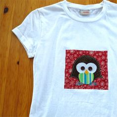 Penguin tshirt white womens slim fit applique bird XS by BoosTees, $18.00