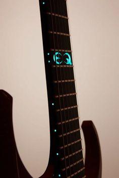 Equilibrium Guitars Accipiter 7 prototype Mardröm - Luminlay being used for custom fretboard inlays