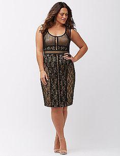 Plus Size Cocktail Dress - Plus Size Mixed Lace Sheath Dress