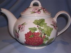Portmeirion Pomona Red Currant Large Teapot in the Romantic shape. White background with beautiful clusters of red currants, pink blossoms and greens. The lid is decorated with a garland of matching pink. Pink Blossom, Garland, Tea Pots, Shapes, Dishes, My Favorite Things, Antiques, Tableware, Pretty