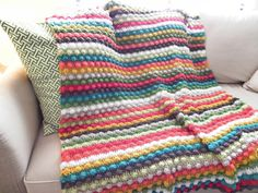 Striped Colorful Bobble Stitch Crochet Afghan by CrochetaLaMae