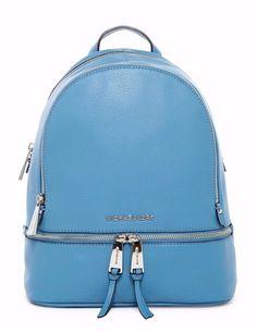 NWT MICHAEL Michael Kors Rhea Zip Sky Blue Leather Small Backpack Bag New #MichaelKors #Backpack