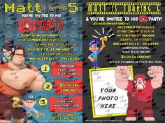 """Wreck-it-Ralph Invitations & matching Party Supplies available .This invitation in the Wreck-it-Ralph theme will """"WOW"""" your party guests. Customized just for you; party supplies to match are available. 15 different design styles to choose from. Custom Party Invitations, Wreck It Ralph, Party Supplies, Office Supplies, Sugar Rush, Party Guests, Youre Invited, Design Styles, Birthday"""